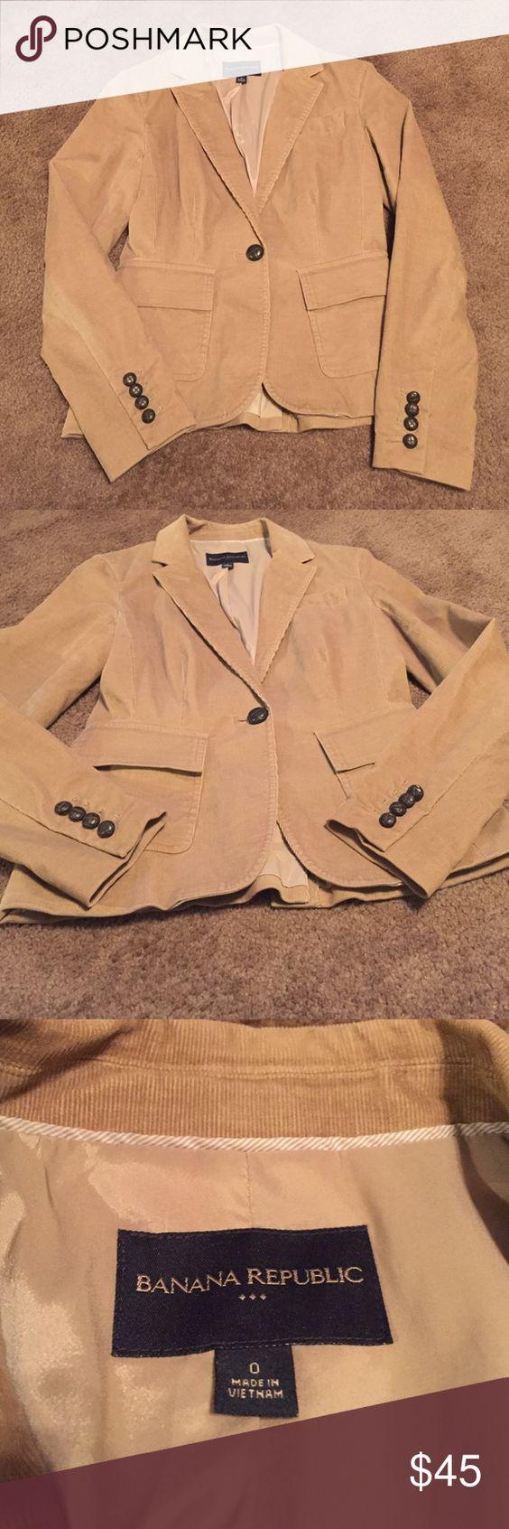 Banana Republic Tan Corduroy Jacket size 0 Banana Republic Tan Corduroy Jacket size 0. Cute Jacket with brown buttons. Great jacket. Banana Republic Jackets & Coats Blazers