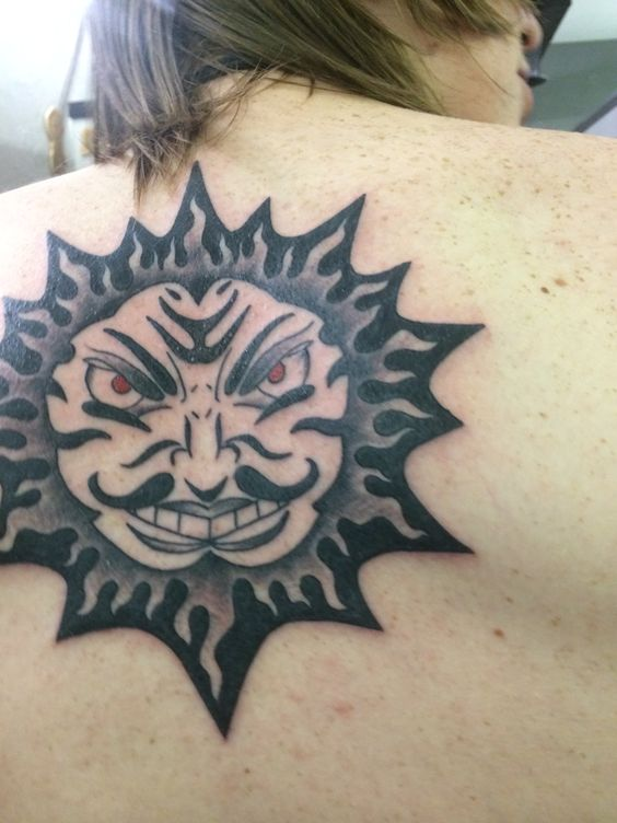 Angry Sun Ethan's 1st tattoo by Jason Call at Last Angels, Dallas Texas