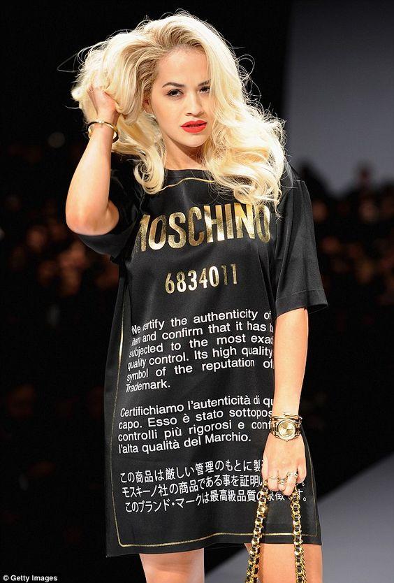 Rita Ora on the catwalk at the Moschino Autumn/Winter 2014 show at Milan Fashion Week