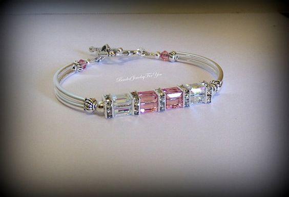 Gift Set of EIGHT: Pink Crystal Bracelet, crystal bangle bracelet, bridal party jewelry, bridesmaid gift set, wedding jewelry,bridal jewelry