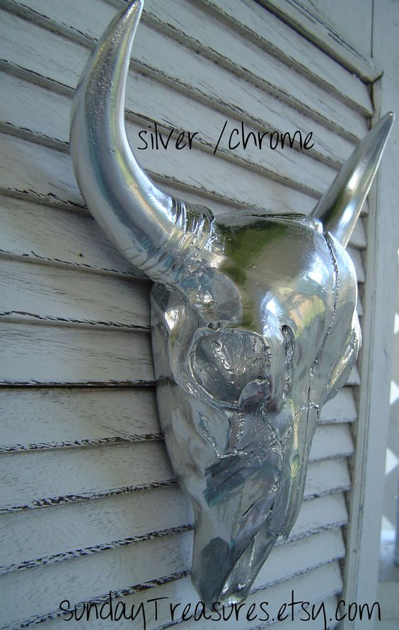 clearance sale cow skull wall decor faux taxidermy silver chrome home decor