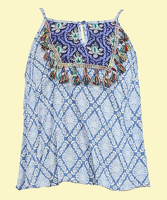 Look what I found on #zulily! Blue Geometric Tassle Camisole Tank - Kids by Flying Tomato #zulilyfinds