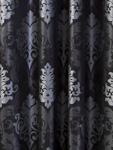 Curtains Ideas black and white damask curtains : beasleyandhenley- black-and-silver-damask-curtain against charcoal ...