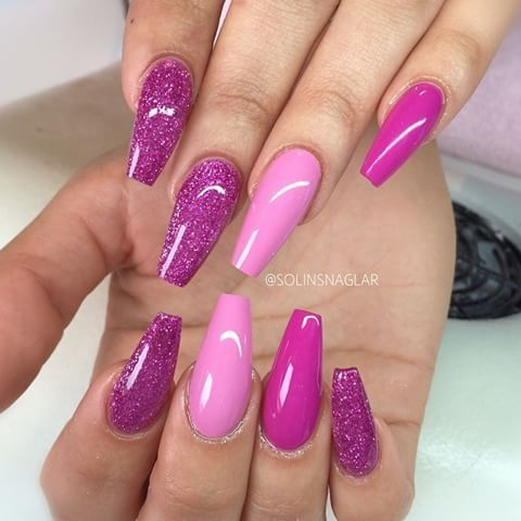 pretty girly shades of pink and sparkly purple nails