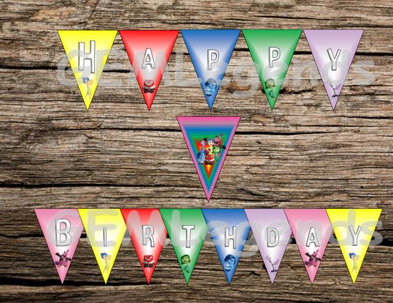 Inside Out Birthday Banner, Inside Out Banner, Inside Out Party Banner, Inside Out Birthday Party, Inside Out Party, DIGITAL DOWNLOAD by GEMLegends on Etsy https://www.etsy.com/listing/248651645/inside-out-birthday-banner-inside-out