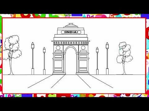 How To Draw India Gate In Ms Paint Youtube With Images India