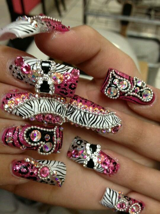 Hot pink bling nails