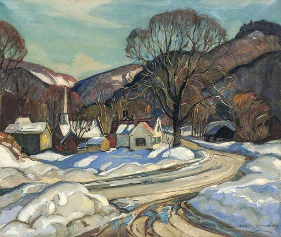 """Winter Village,"" William Lester Stevens, oil on canvas, private collection."