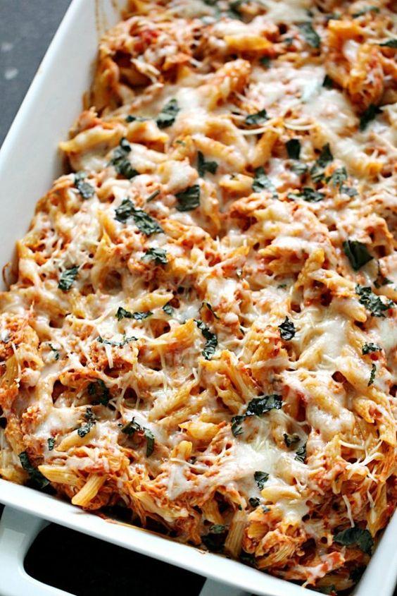 Cheesy Chicken Parmesan Pasta Casserole