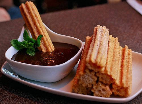 Churros with chocolate sauce, what's not to love