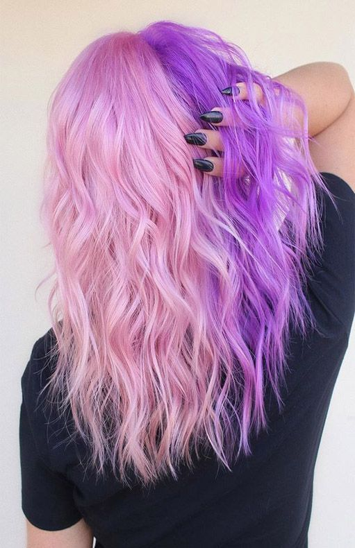 Women S Wig Hair Long Wavy Cosplay Wigs Half Light Pink And Purple Halloween Costume Wig Hair Inspo Color Split Dyed Hair Hair Color Pink