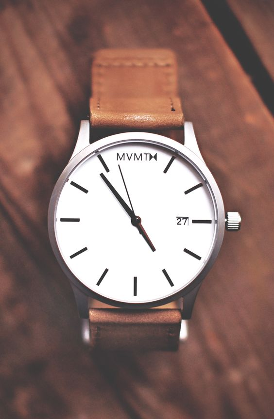 White/Tan Leather watch x MVMT Watches  Click the image to purchase