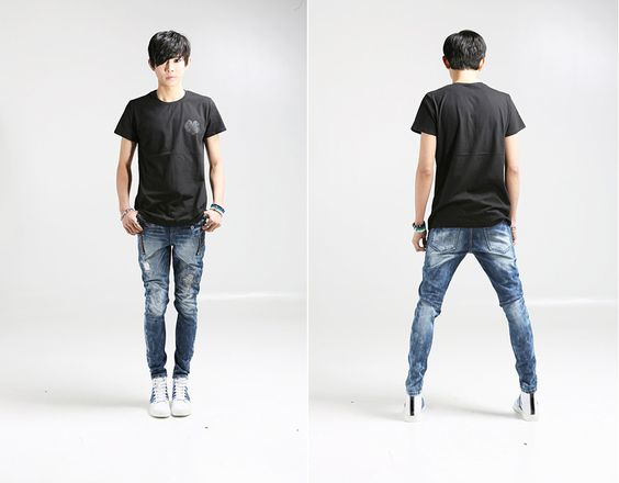 Jeans For Men Ragged Vintage Ripped Denim | Things to Wear ...
