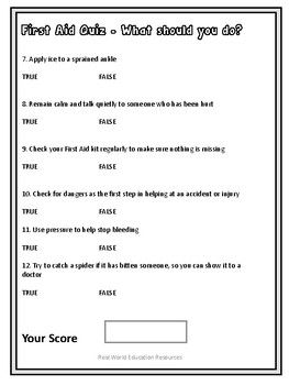 First Aid Printable Worksheet True False Quiz Questions And