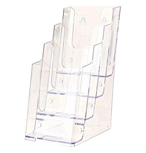 12 Pocket Brochure Holder For Tabletop Rotating 3 Sided Adjustable Pockets Black In 2020 Brochure Holders Brochure Display Office Wall Organization