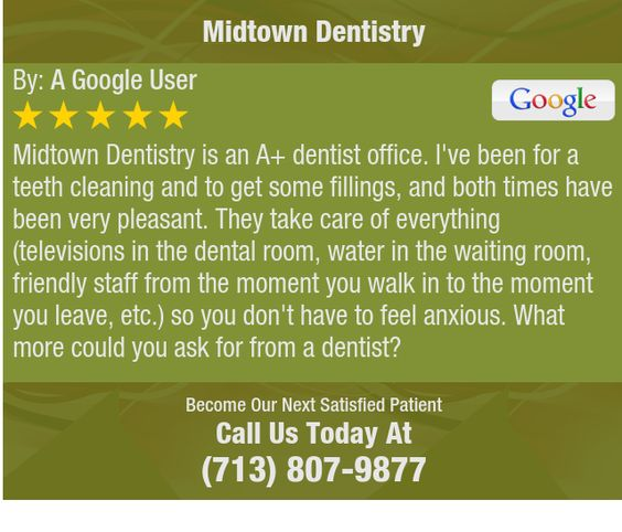 Midtown Dentistry is an A+ dentist office. I've been for a teeth cleaning and to get some...