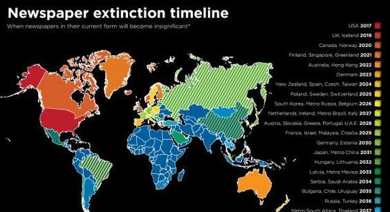 Un mapa que visualiza la extinción de periódicos en el mundo