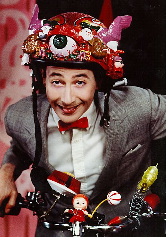 Image result for Pee Wee Herman on bicycle scary face