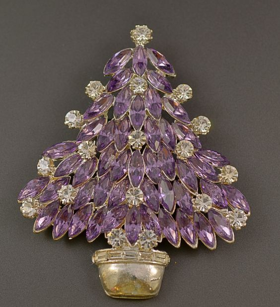 Eisenberg Ice Purple Lavender Navette Christmas Tree Pin Brooch   eBay $ 165: