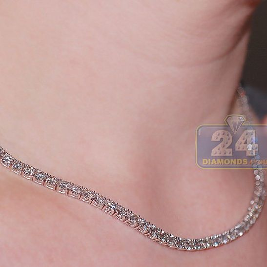 Womens Diamond Tennis Necklace 18k White Gold 19 70ct 16 5 Tennis Necklace Diamond Tennis Necklace Necklace