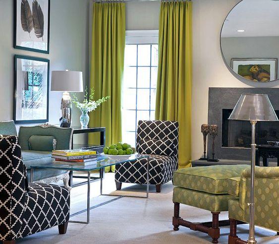 Greenish...  Beautiful varying shades of green along with varying shades of gray, black & white.