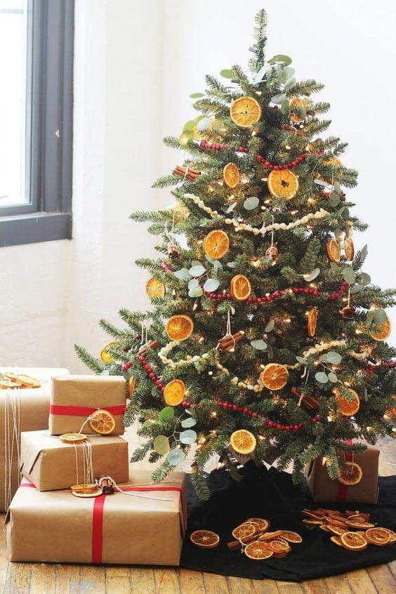 Попкорн напоминающий снег, красная клюква, высушенные ломтики апельсина и лимона, палочки корицы могут составить полноценную праздничную палитру на елке и наполнить дом незабываемыми ароматами. .
