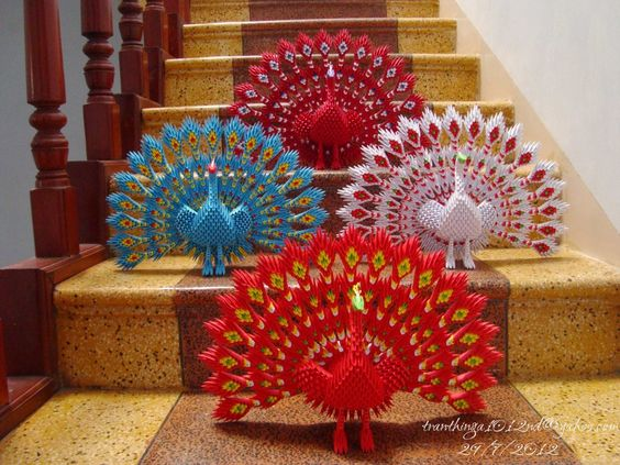 Origami 3D Chinois | 3d origami peacock backside view .jpg 3d origami peacock look from ...