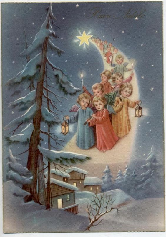Angeli Bambini su Stella Cometa Lanterne Xmas Cute Angels Vintage PC Circa 1950: