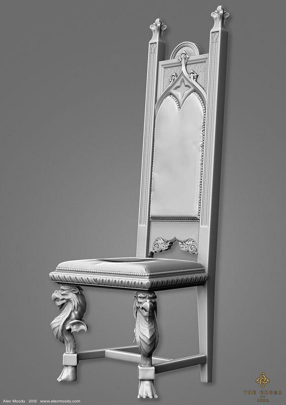 Knight's Chair for The Order 1886, Alec Moody on ArtStation at https://www.artstation.com/artwork/knight-s-chair-for-the-order-1886