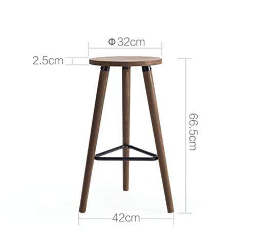 Casual Seating Chair Retro Bar Solid Wood High Stool Circular