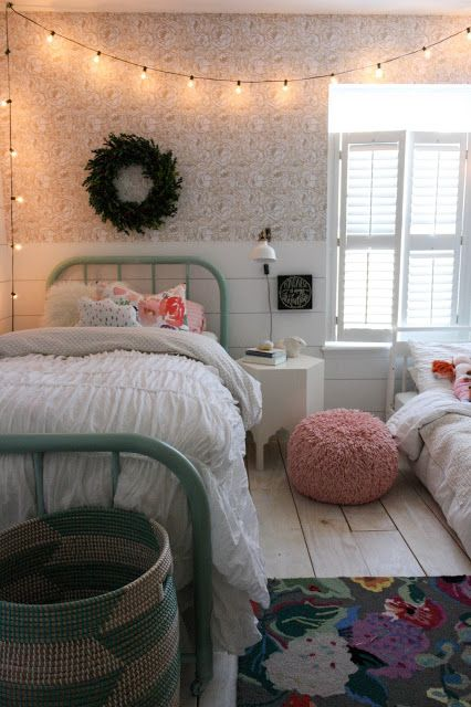 Blogger stylin home tour christmas 2015 bedrooms - String lights for bedroom ...
