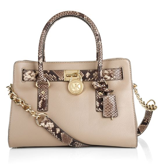 Everyday favorite with a little luxury extra chic: unique saffiano leather is combined with super elegant snake details Buy it now and wear it for the next 2 years, your perfect Michael Kors Hamilton Satchel Bag in Dark Khaki. Fashionette.de