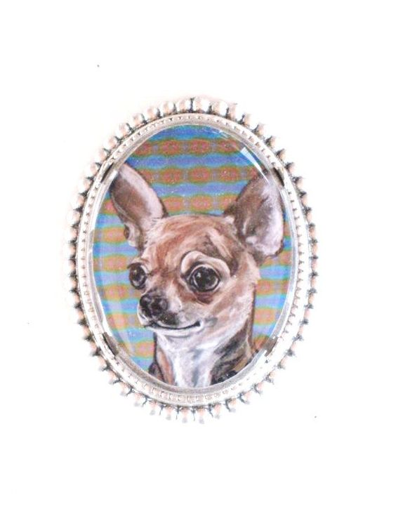 Chihuahua wearable art sterling plate pin by lindakratz on Etsy, $19.95