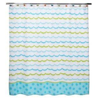 Circo Sea Life Blue Green Wave Polka Dot Fabric Shower Curtain ...