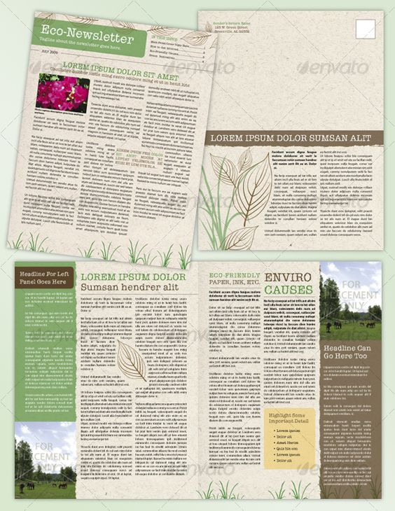 4 Page, Environmental or Recycle Newsletter - Newsletters Print Templates