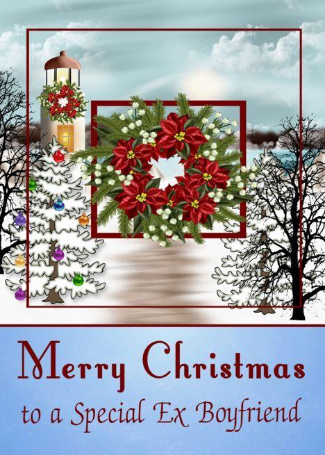Christmas To Ex Boyfriend Snowy Lighthouse Scene With A Wreath Card Ad Ad Snowy Boyfriend Christmas Lighthouse