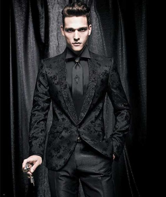 men's Dinner Jacket like this print and style of all black