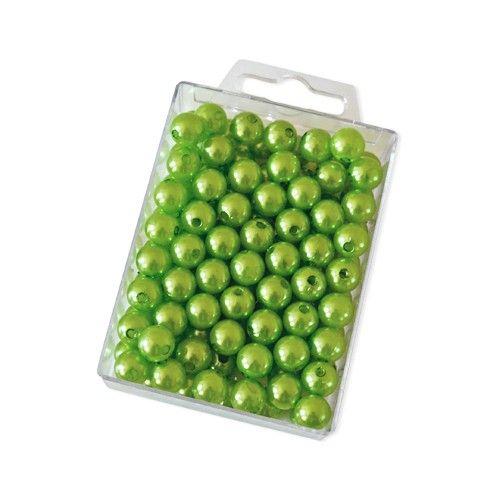 Dekoperlen 10 mm zum Fädeln - Box mit ca. 115 Stück - apfelgrün