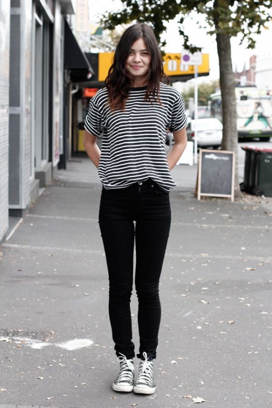 white and black striped tee shirt with black skinny jeans | just ...