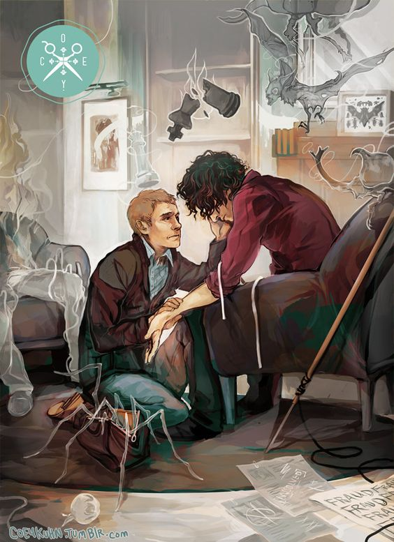 """Dr. John Watson helping Sherlock Holmes (as portrayed in the BBC series """"Sherlock"""") through some rough, drug-induced times."""