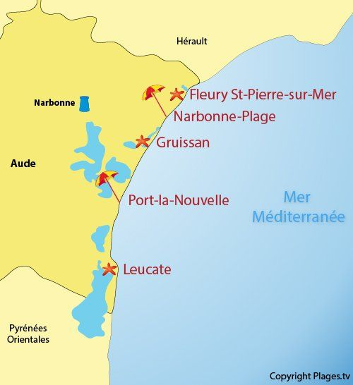 Carte Des Stations Balneaires De L Aude 11 En 2020 Station