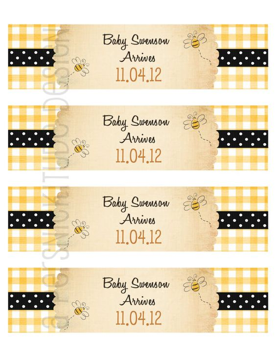 honey bee water bottle wraps DIY printable file by persnickitude, $8.00