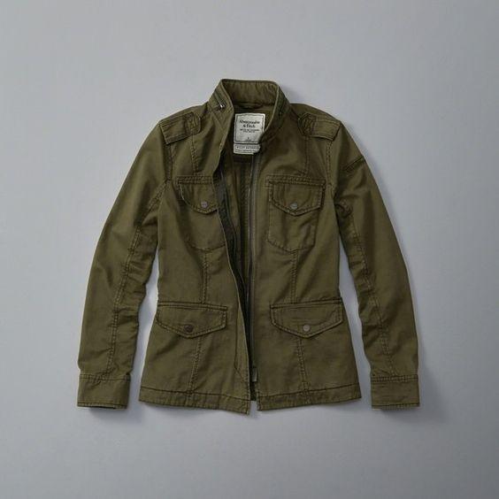 Abercrombie & Fitch Twill Utility Jacket ($120) ❤ liked on Polyvore featuring outerwear, jackets, olive, wrap jacket, embellished jacket, olive green jacket, utility jacket and army green utility jacket