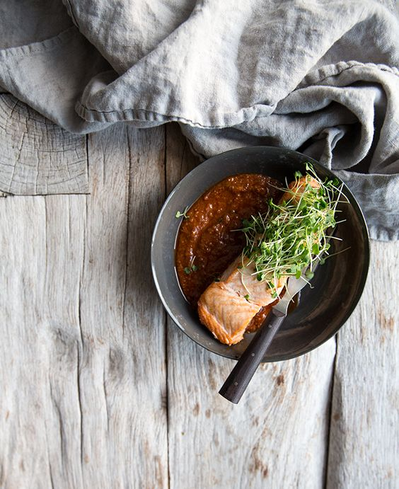 salmon + spicy caraway tomato sauce | what's cooking good looking: