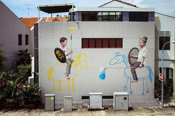 Ernest Zacharevic.  Este pintor que se auto define como tal (y no como graffitero), baña las paredes de distintos rincones del mundo de una forma espléndida y sin duda, significativa