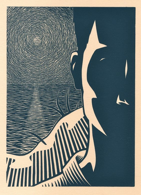 Darrel Perkins ~ The Outsider, 2010 (linocut)