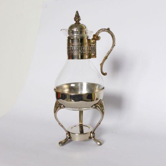 tetera de cristal, calentador de agua de vela, vintage candle warmer,