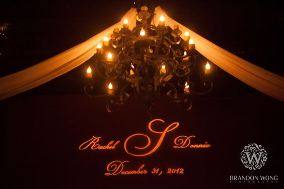 Custom Monogram GOBO and Drapery at the Palm Event Center
