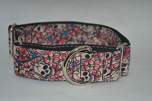 """Greyhound Martingale Adjustable 1.5"""" Collar-Skulls with Flowers $25.00 AUD from Ebay"""
