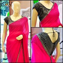 #Saree in Hot Pink w/ Black & Silver Blouse